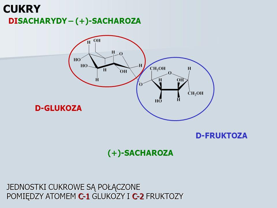 CUKRY DISACHARYDY – (+)-SACHAROZA D-GLUKOZA D-FRUKTOZA (+)-SACHAROZA