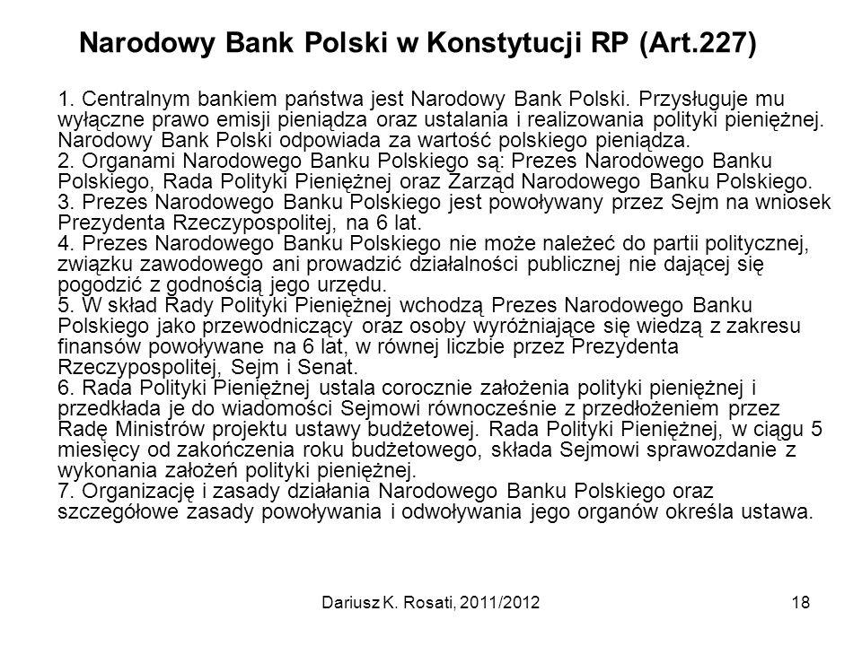 Narodowy Bank Polski w Konstytucji RP (Art.227)