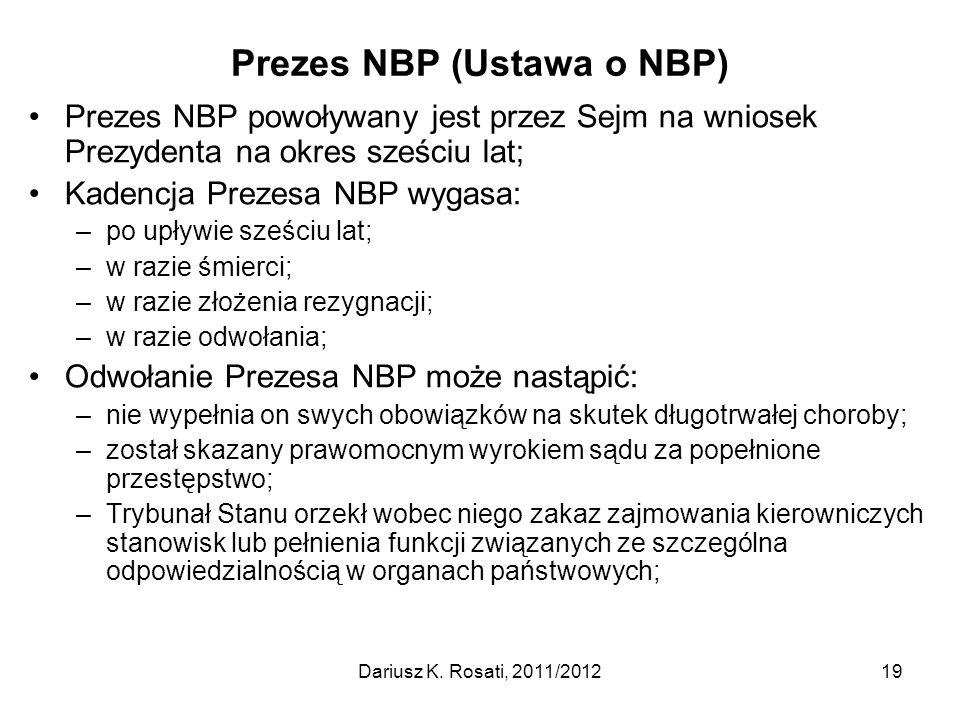 Prezes NBP (Ustawa o NBP)