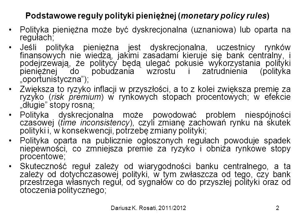 Podstawowe reguły polityki pieniężnej (monetary policy rules)