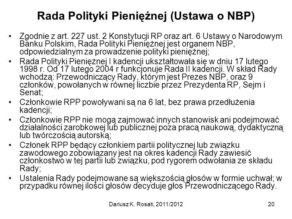 Rada Polityki Pieniężnej (Ustawa o NBP)
