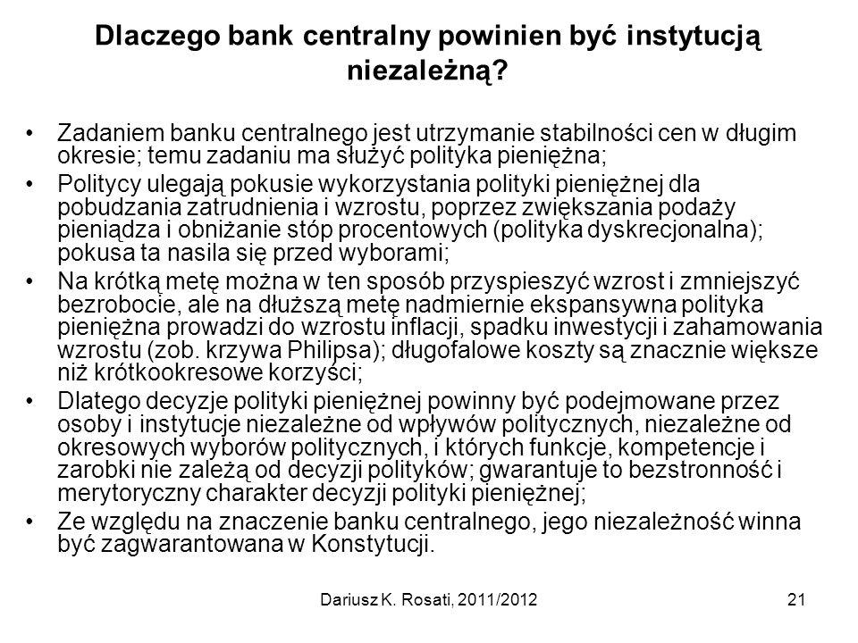Dlaczego bank centralny powinien być instytucją niezależną