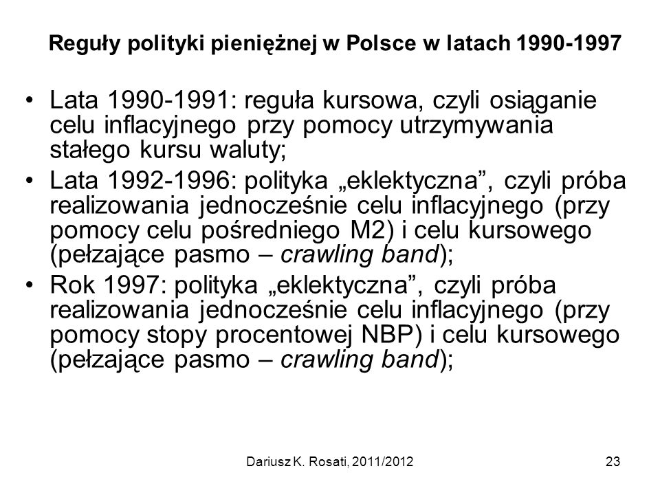 Reguły polityki pieniężnej w Polsce w latach 1990-1997