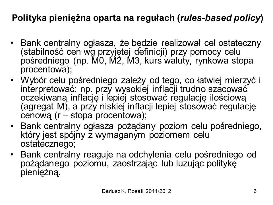 Polityka pieniężna oparta na regułach (rules-based policy)