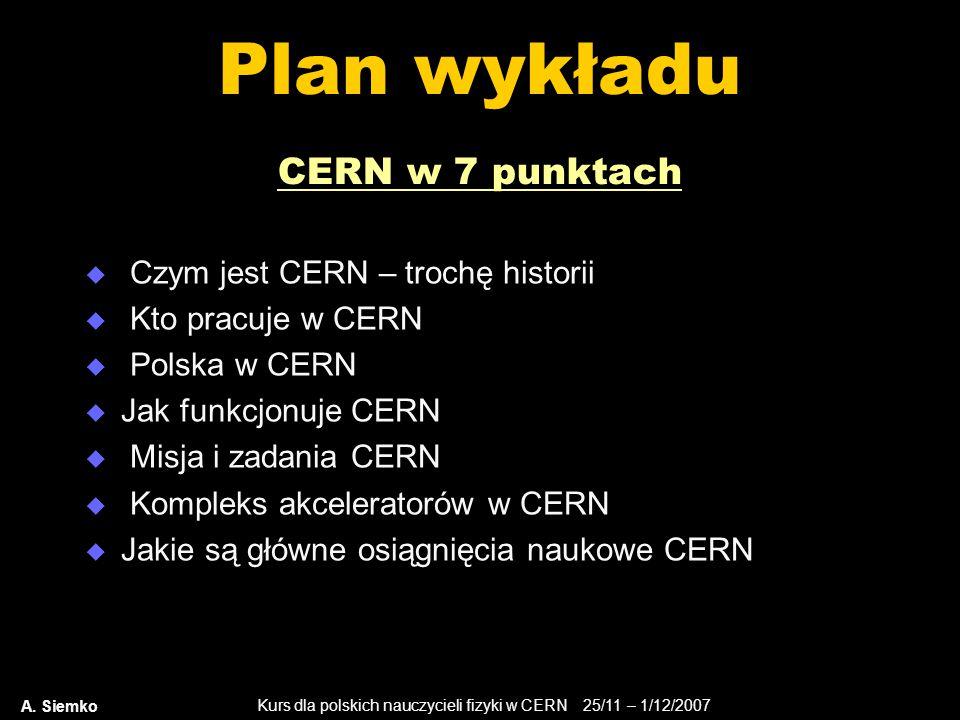 Plan wykładu CERN w 7 punktach