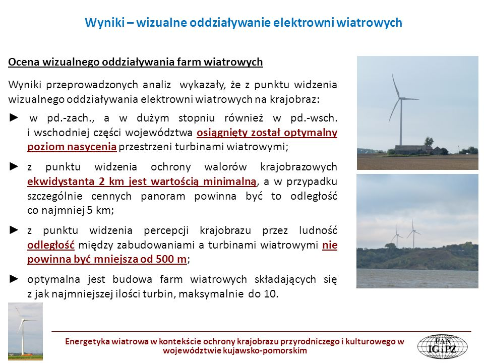 Wyniki – wizualne oddziaływanie elektrowni wiatrowych