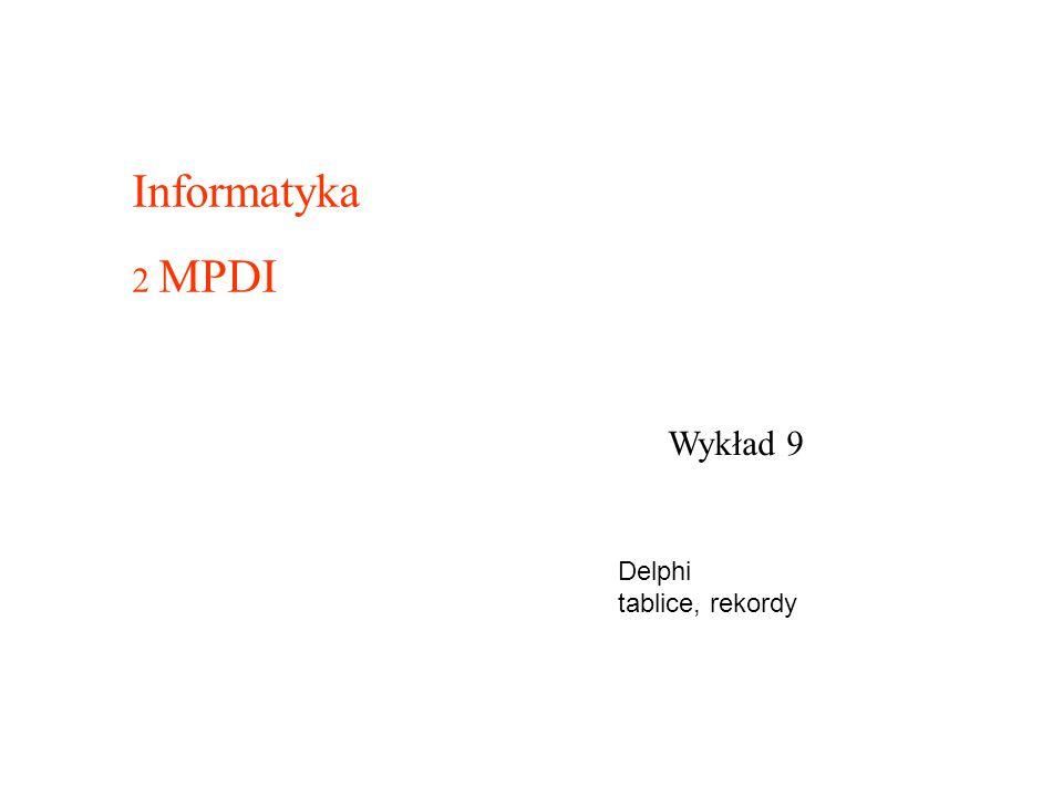 Informatyka 2 MPDI Wykład 9 Delphi tablice, rekordy