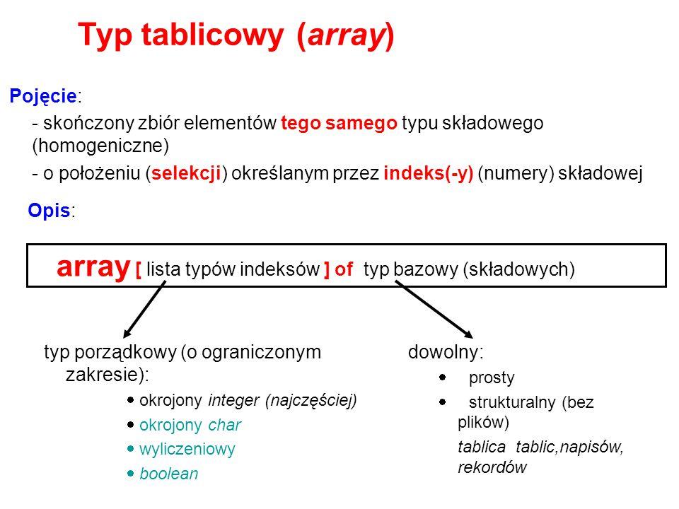 Typ tablicowy (array) Pojęcie: - skończony zbiór elementów tego samego typu składowego (homogeniczne)