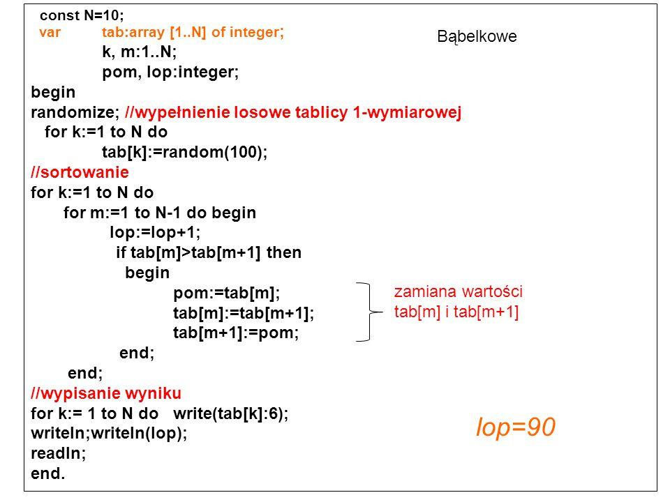 lop=90 const N=10; k, m:1..N; Bąbelkowe pom, lop:integer; begin