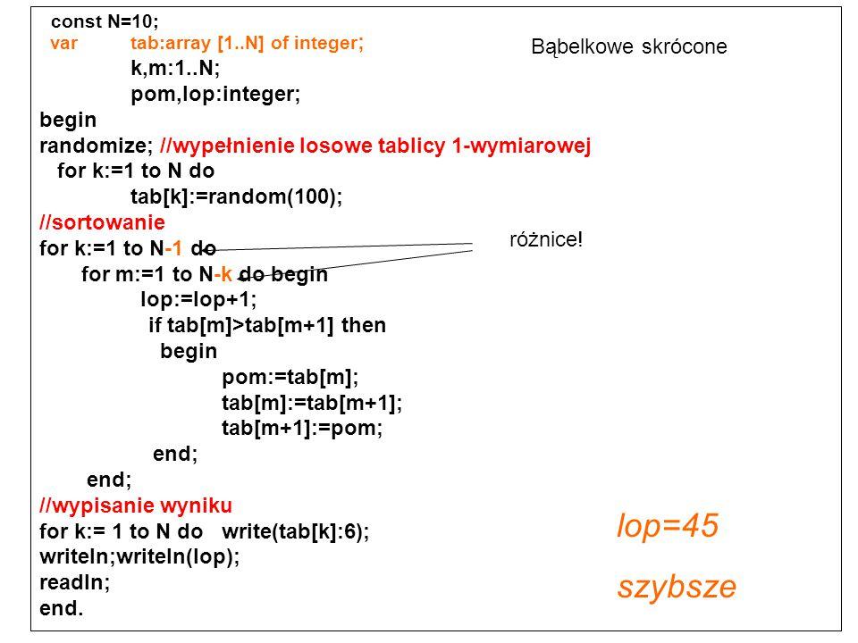 lop=45 szybsze const N=10; k,m:1..N; Bąbelkowe skrócone