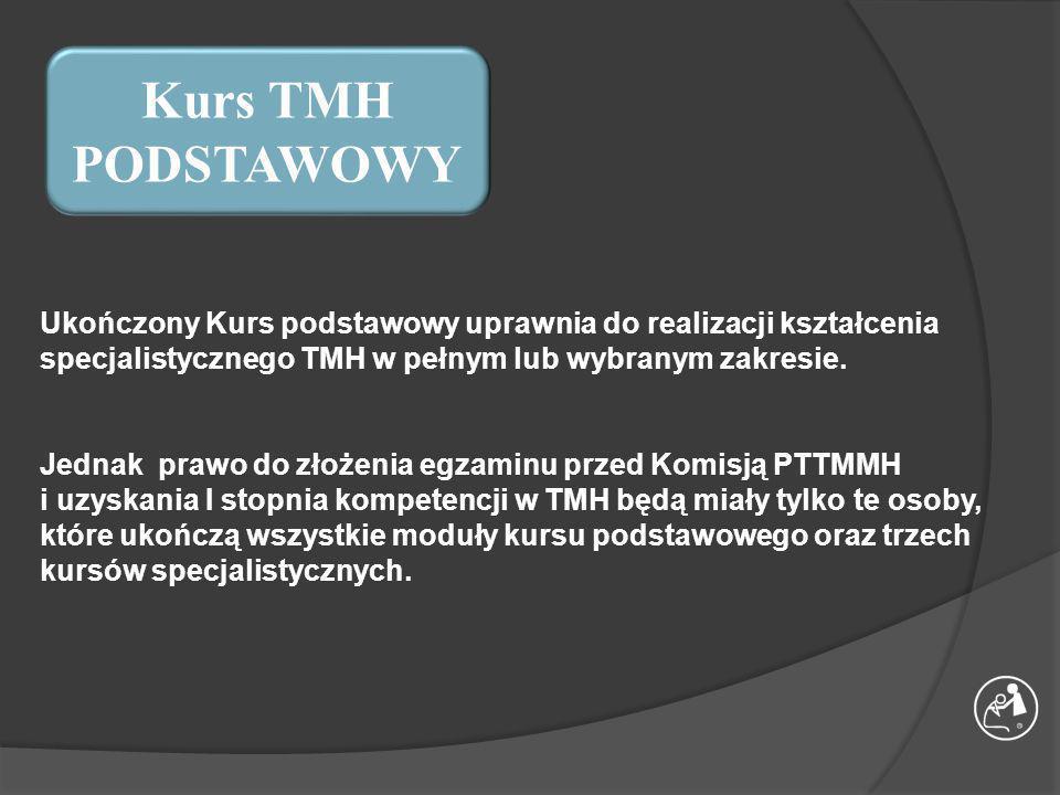 Kurs TMH PODSTAWOWY Ukończony Kurs podstawowy uprawnia do realizacji kształcenia specjalistycznego TMH w pełnym lub wybranym zakresie.