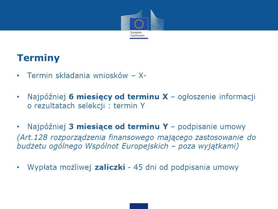Terminy Termin składania wniosków – X-