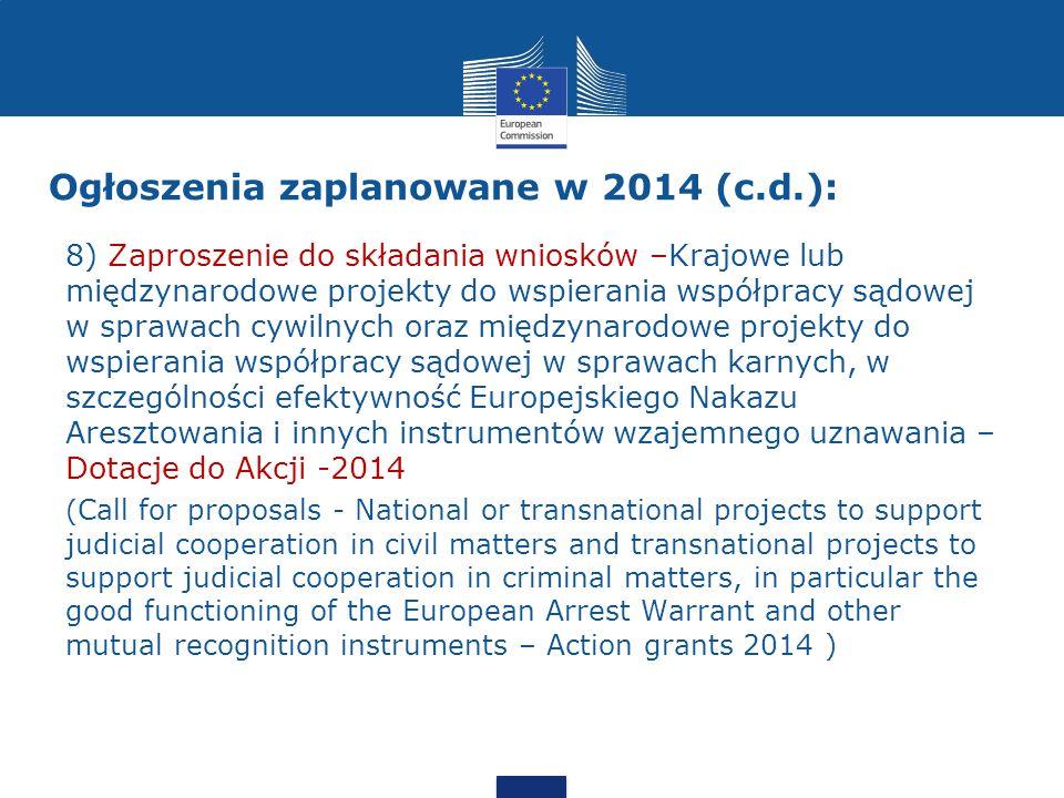 Ogłoszenia zaplanowane w 2014 (c.d.):