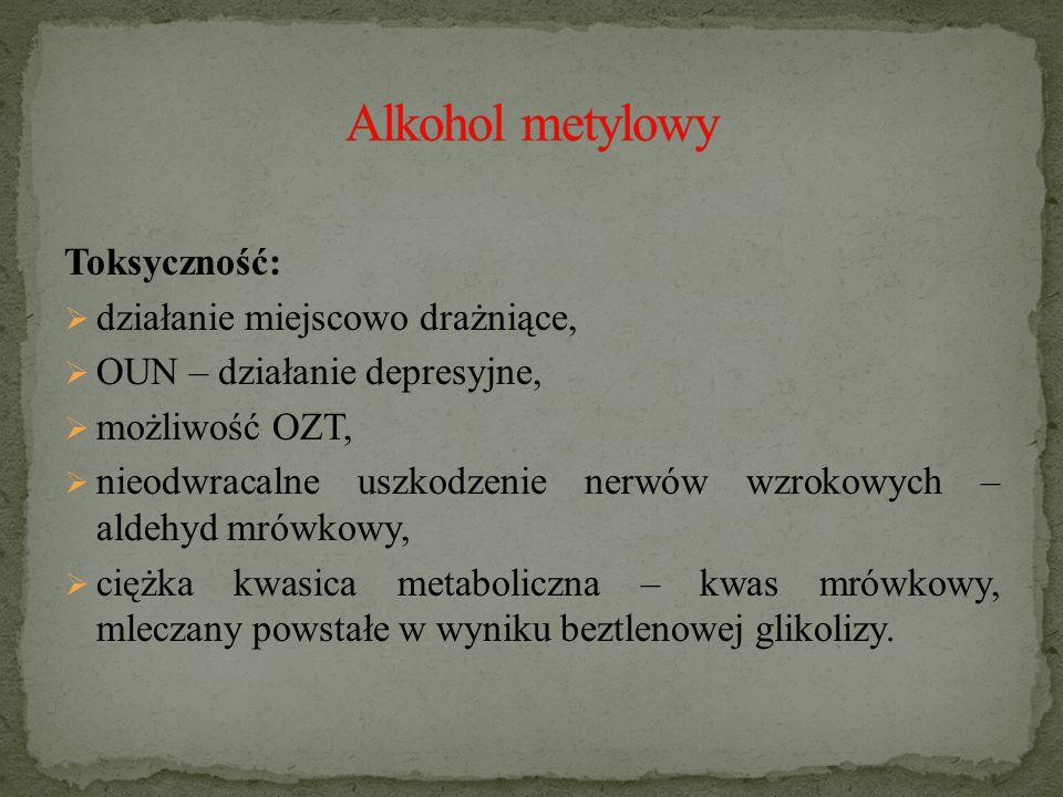 Alkohol metylowy Toksyczność: działanie miejscowo drażniące,
