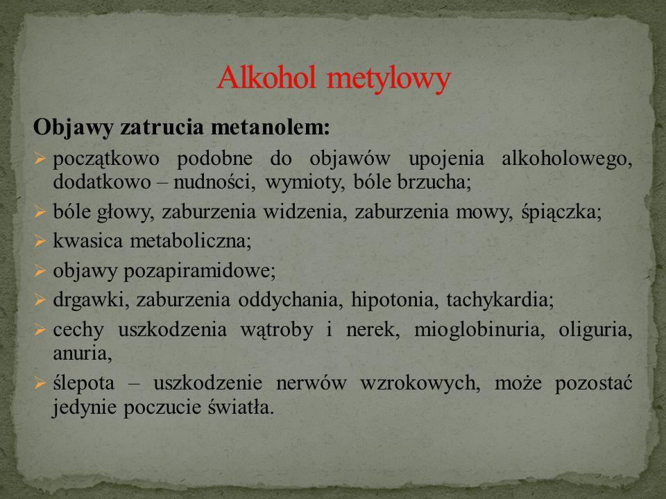 Alkohol metylowy Objawy zatrucia metanolem: