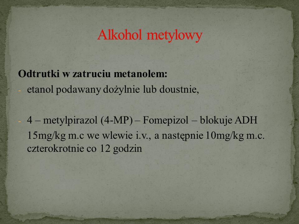 Alkohol metylowy Odtrutki w zatruciu metanolem: