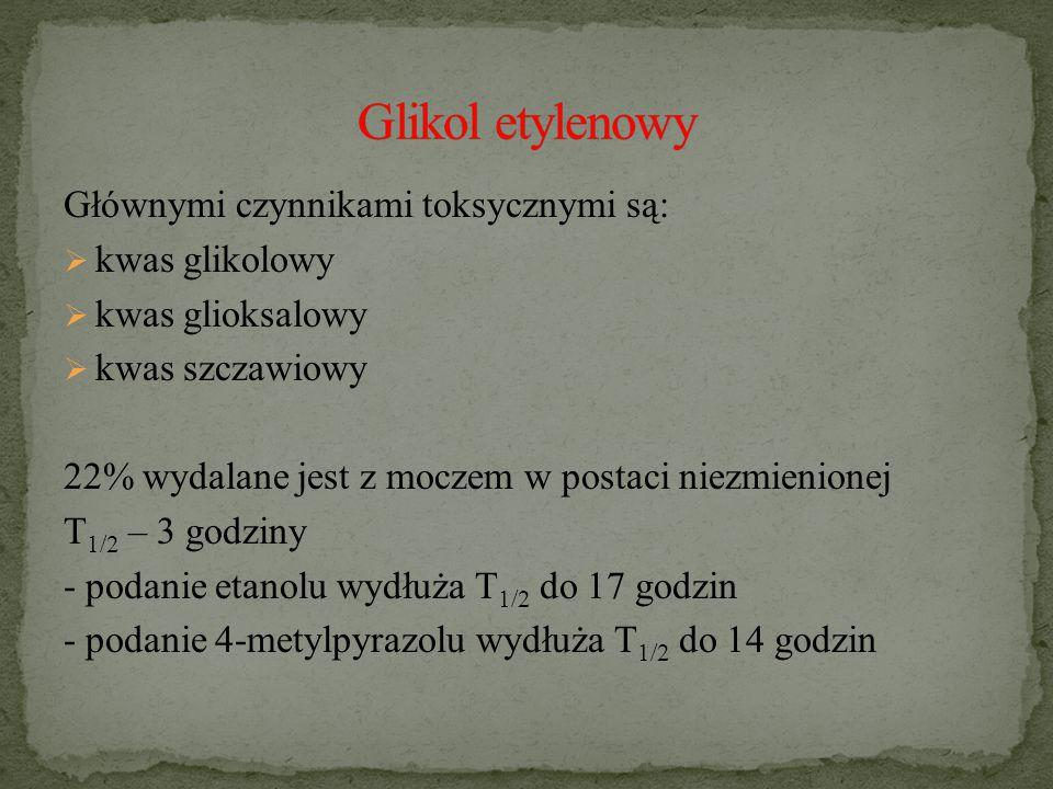 Glikol etylenowy Głównymi czynnikami toksycznymi są: kwas glikolowy
