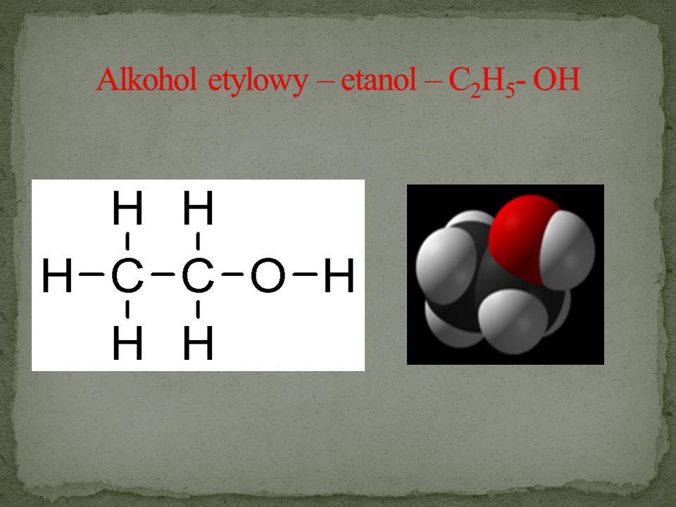 Alkohol etylowy – etanol – C2H5- OH