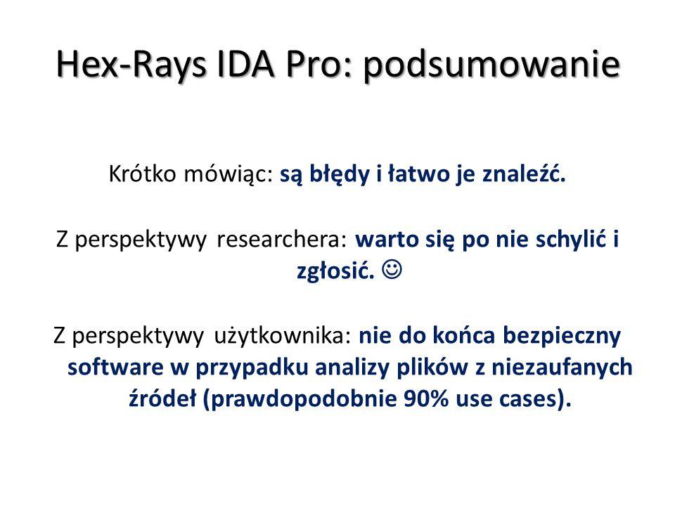 Hex-Rays IDA Pro: podsumowanie
