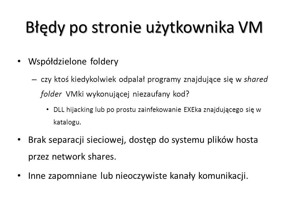 Błędy po stronie użytkownika VM