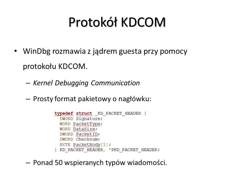 Protokół KDCOM WinDbg rozmawia z jądrem guesta przy pomocy protokołu KDCOM. Kernel Debugging Communication.