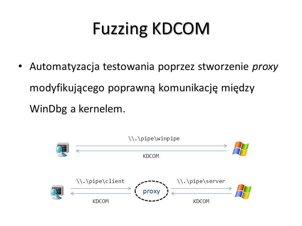 Fuzzing KDCOM Automatyzacja testowania poprzez stworzenie proxy modyfikującego poprawną komunikację między WinDbg a kernelem.