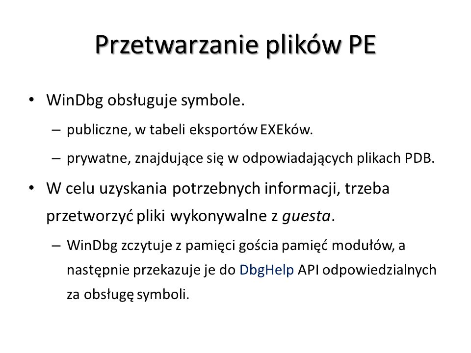 Przetwarzanie plików PE