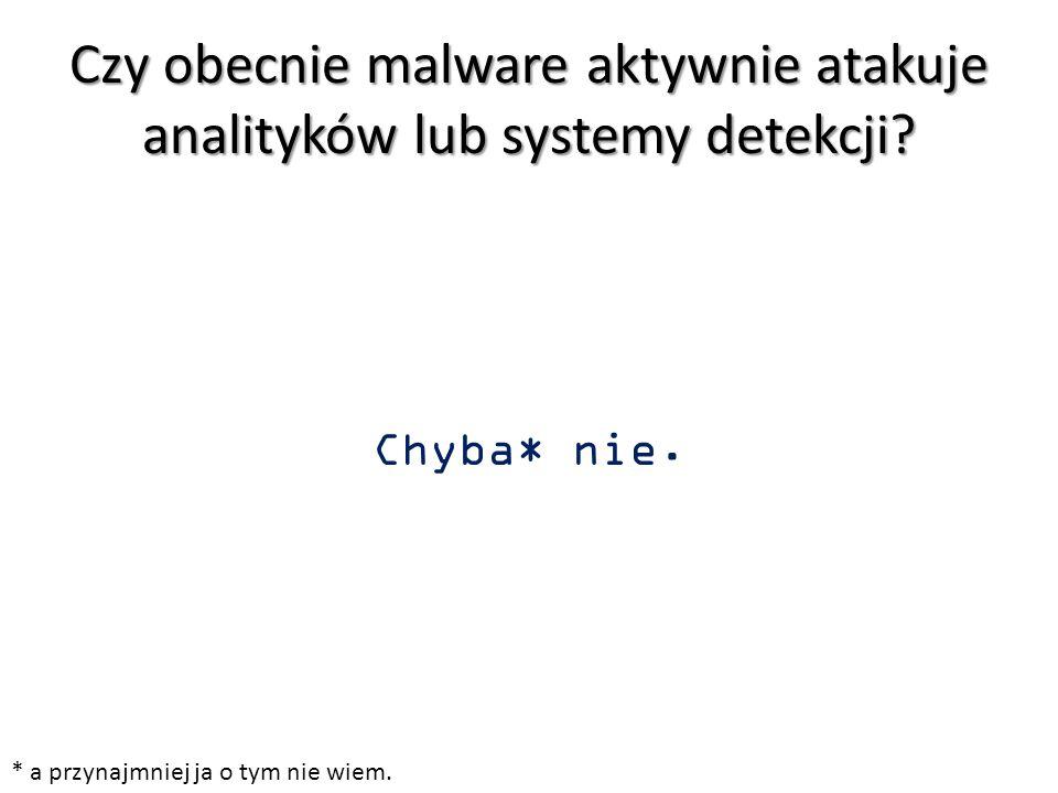 Czy obecnie malware aktywnie atakuje analityków lub systemy detekcji