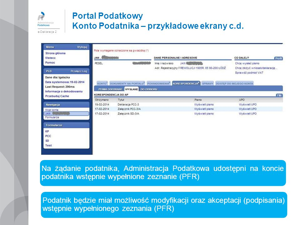 Portal Podatkowy Konto Podatnika – przykładowe ekrany c.d.