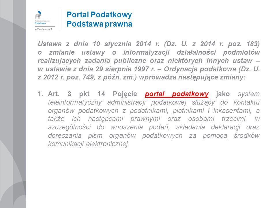 Portal Podatkowy Podstawa prawna