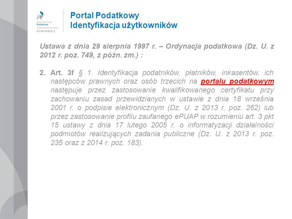 Portal Podatkowy Identyfikacja użytkowników