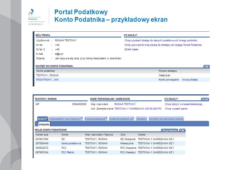 Portal Podatkowy Konto Podatnika – przykładowy ekran