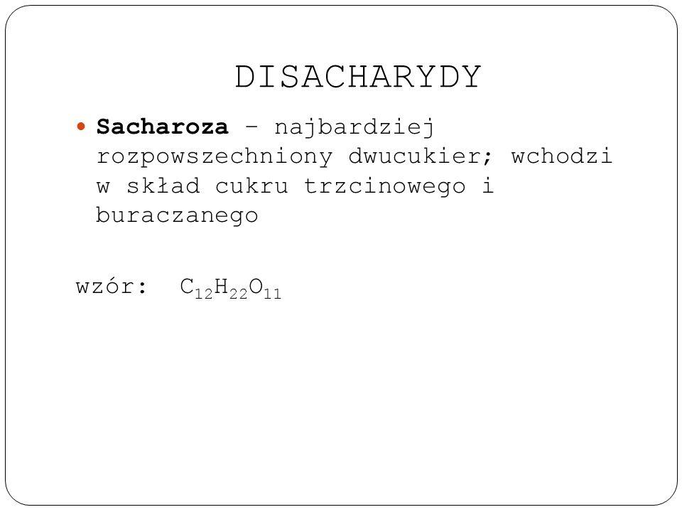 DISACHARYDY Sacharoza – najbardziej rozpowszechniony dwucukier; wchodzi w skład cukru trzcinowego i buraczanego.