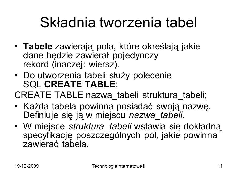 Składnia tworzenia tabel