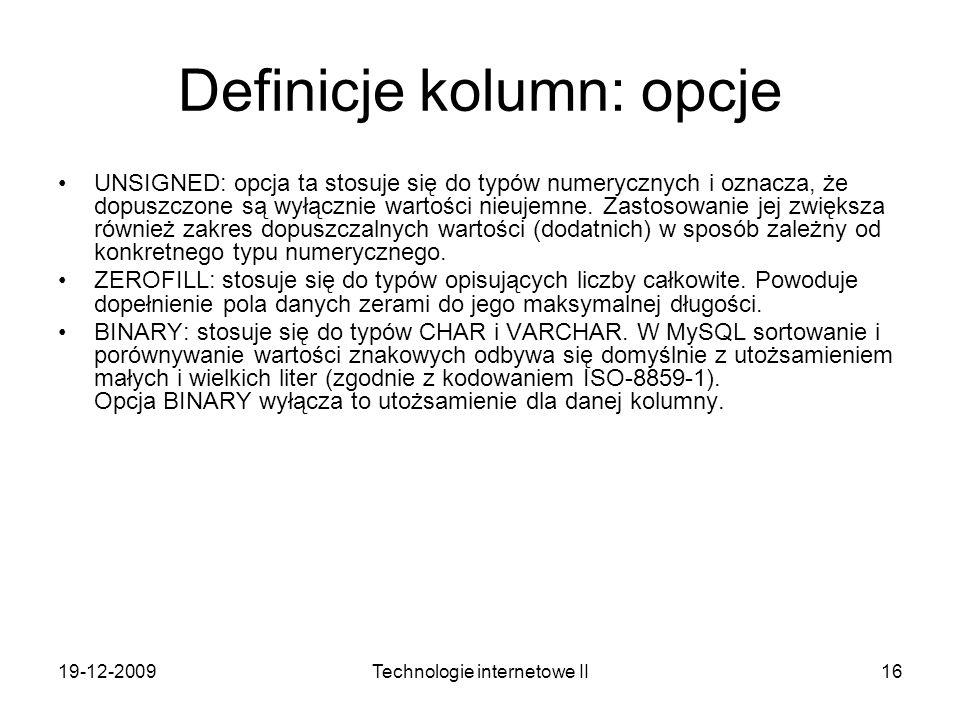 Definicje kolumn: opcje