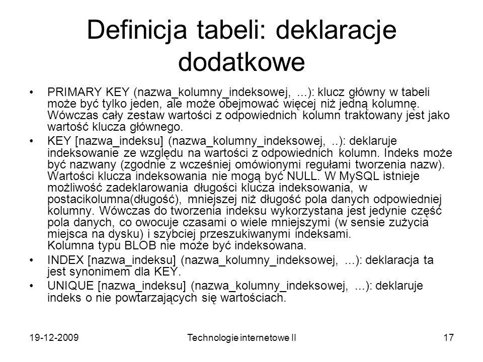 Definicja tabeli: deklaracje dodatkowe