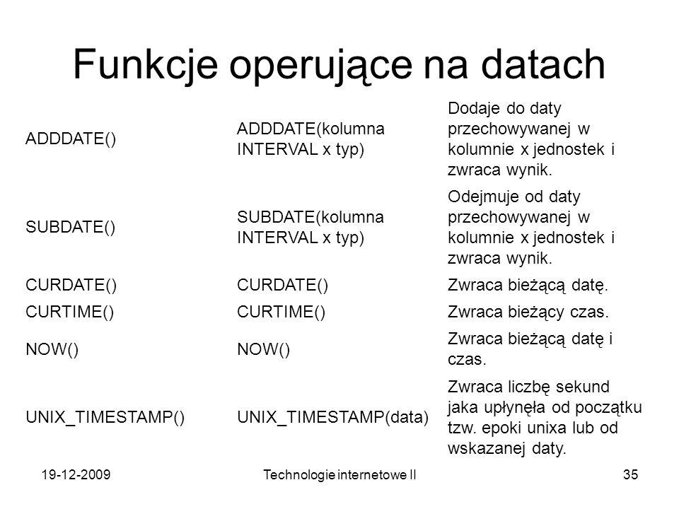 Funkcje operujące na datach