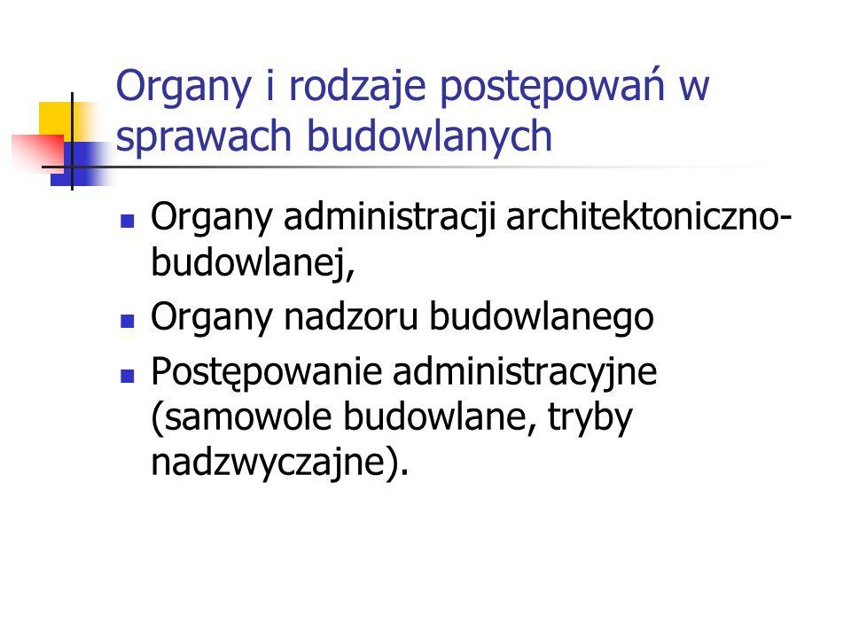 Organy i rodzaje postępowań w sprawach budowlanych