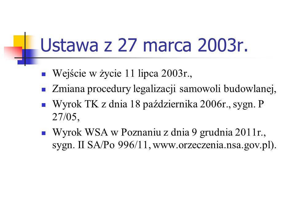 Ustawa z 27 marca 2003r. Wejście w życie 11 lipca 2003r.,