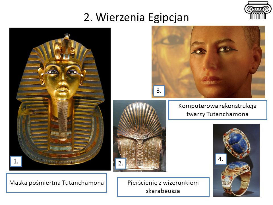 2. Wierzenia Egipcjan 3. Komputerowa rekonstrukcja twarzy Tutanchamona