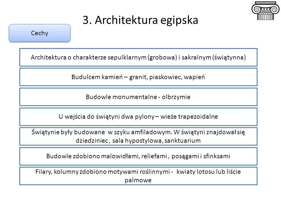 3. Architektura egipska Cechy