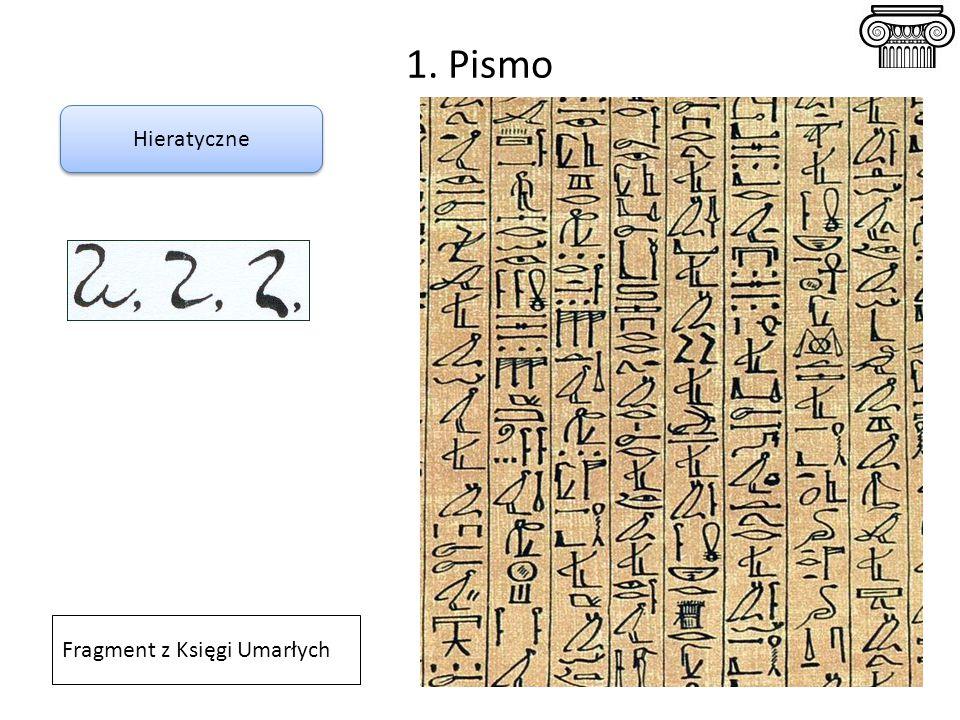 1. Pismo Hieratyczne Fragment z Księgi Umarłych