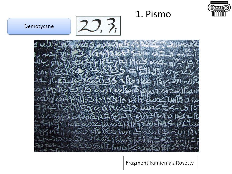 1. Pismo Demotyczne Fragment kamienia z Rosetty