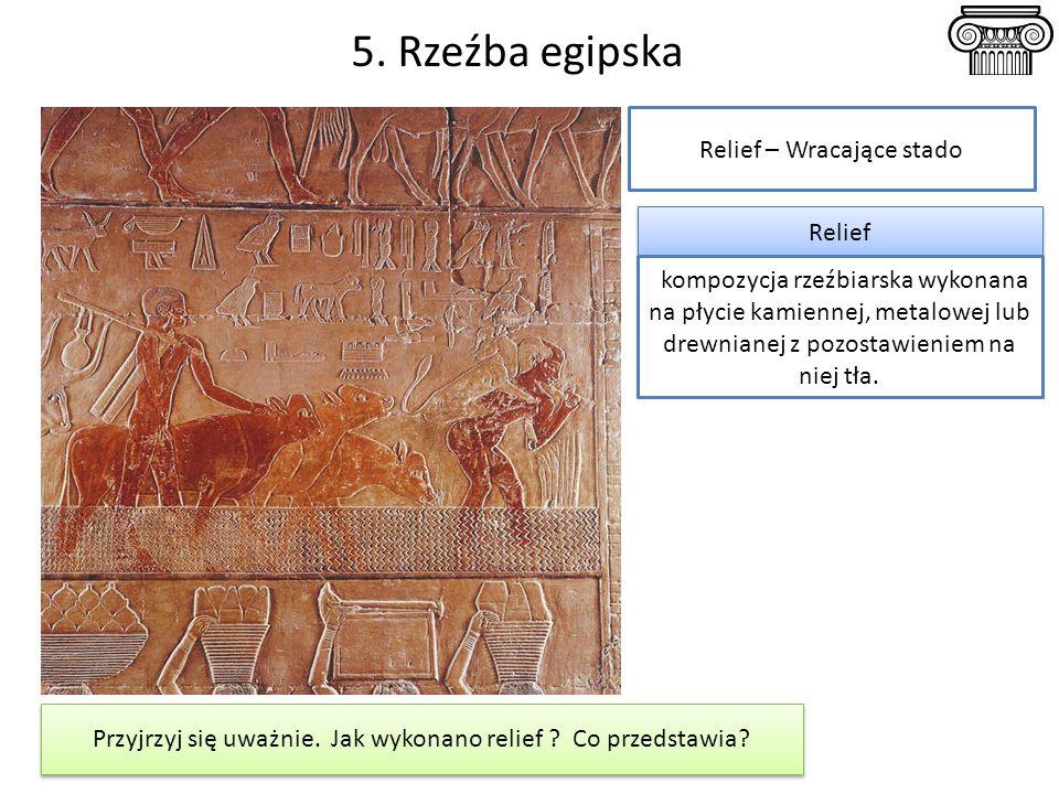 5. Rzeźba egipska Relief – Wracające stado Relief