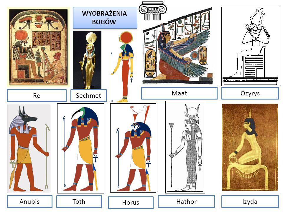 WYOBRAŻENIA BOGÓW Maat Ozyrys Re Sechmet Anubis Toth Horus Hathor Izyda