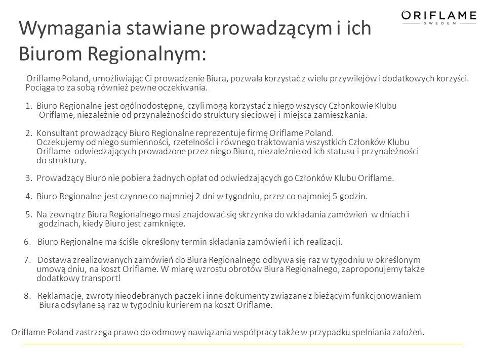 Wymagania stawiane prowadzącym i ich Biurom Regionalnym: