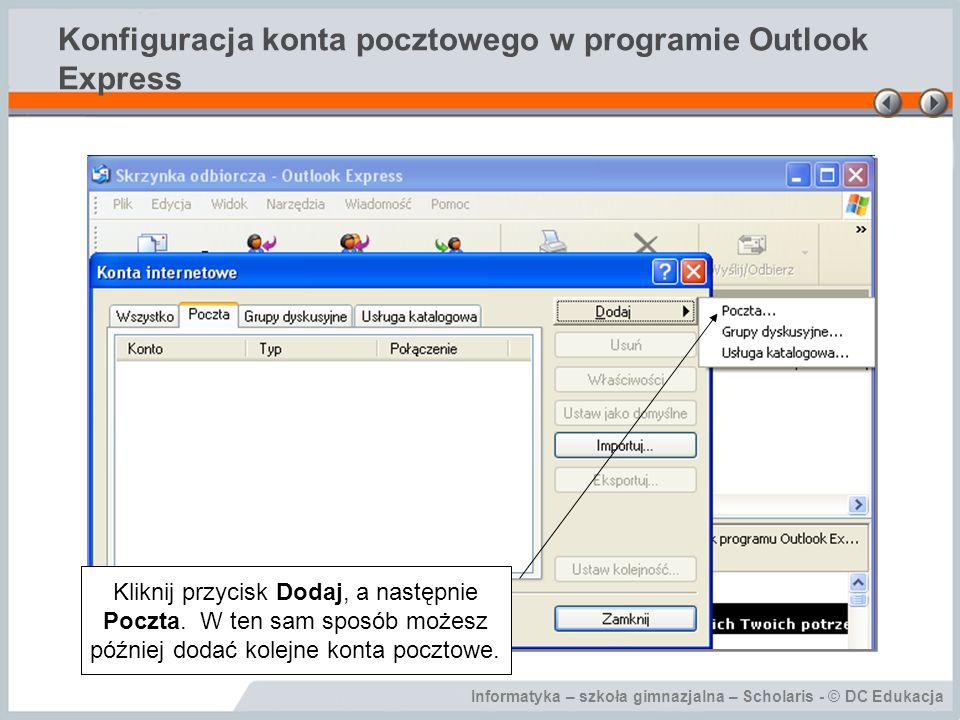 Konfiguracja konta pocztowego w programie Outlook Express