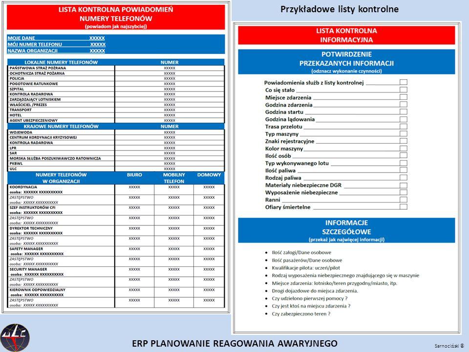 Przykładowe listy kontrolne ERP PLANOWANIE REAGOWANIA AWARYJNEGO