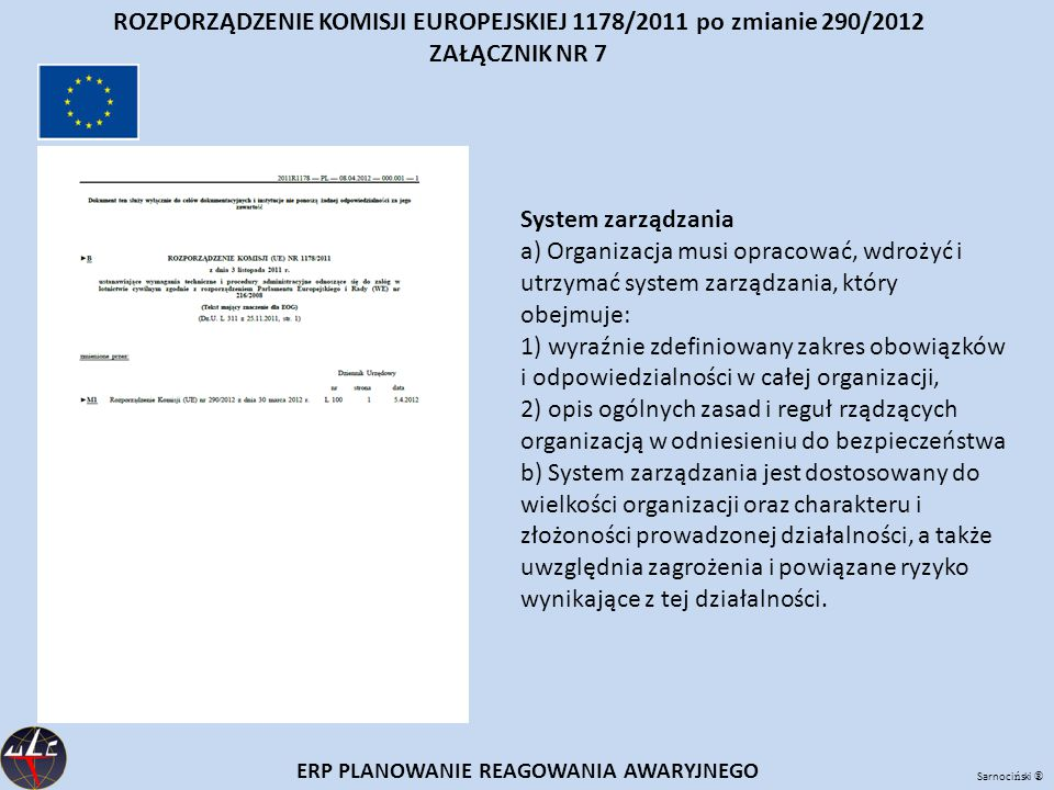 ROZPORZĄDZENIE KOMISJI EUROPEJSKIEJ 1178/2011 po zmianie 290/2012