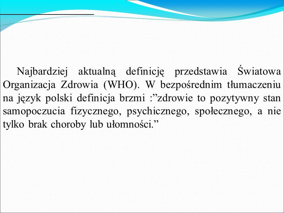 Najbardziej aktualną definicję przedstawia Światowa Organizacja Zdrowia (WHO).